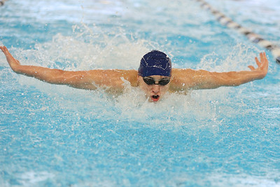 Butler's David Bocci competes in the 100-meter butterfly at WPIAL championships at Upper St. Clair Sunday. Bocci won the event. Seb Foltz/Butler Eagle 03/07/21