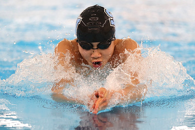 Seneca's Haihan Xu competes in the 100-meter breaststroke at WPIAL Championships at Upper St. Clair Sunday. Seb Foltz/Butler Eagle 03/07/21