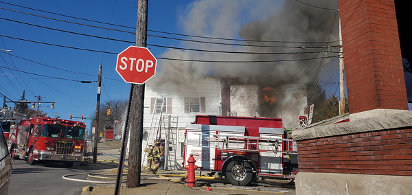 Multiple fire departments  responded to a fire at an apartment complex with multiple units on Center Avenue, Butler, Sunday afternoon.According to Butler County 911 dispatchers, all residents evacuated safely. Firefighters arrived to seesmoke spewing from the roof.Nathan Bottiger/Butler Eagle