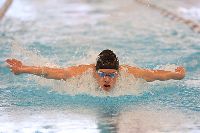 Seneca's Daniel Simoes swims the butterfly leg of the 200-meter individual medley at WPIAL Championships Sunday at Upper St. Clair. Simoes won the event. Seb Foltz/Butler Eagle March 2021