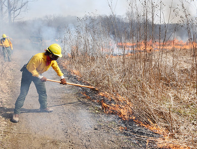 Employees of Jennings Environmental Center, Keystone State Park and other departments were on hand to conduct the annual controlled burn of the prairie Monday, March 8, 2021. According to Jennings website, the controlled burn is used to slow the growth of woody plants and rejuvenate the native grasses and wildflowers. Harold Aughton/Butler Eagle