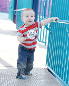 Harold Montgomery, 1, of Fenlton, spent Wednesday morning practing walking at Alameda Park with his mother, Hope Montgomery and two-year-old sister, Lily. March 10, 2021. Harold Aughton/Butler Eagle.