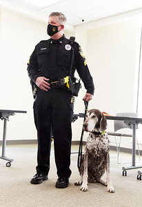 The Butler County Commissioners officially retired Bullet, a 10-year-old German shorthaired pointer that works as the county sheriff department's tracking and narcotics detection K-9. The commissioners also released Bullet into the care of his handler deputy Harry Callithen II Wednesday, March 17, 2021. Harold Aughton/Butler Eagle.