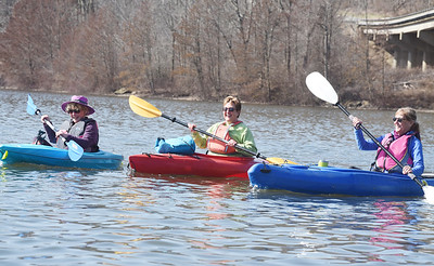 From left, friends Karen Sharkey, Lisa Davis and Mary Ann Zuk took advantage of the warm weather by kayaking off the 528 boat ramp at Lake Arthur Monday, March 22, 2021. Harold Aughton/Butler Eagle