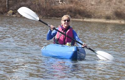Lisa Davis joined friends Karen Sharkey and Mary Ann Zuk for a kayaking trip to Lake Arthur Monday, March 22, 2021. Harold Aughton/Butler Eagle