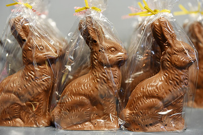 The chocolate Easter bunnies at Cummings Candy and Coffee are wrapped and ready for Easter. According to Cummings, his family has been making candy at 146 N. Main St., Butler since 1905.  Harold Aughton/Butler Eagle