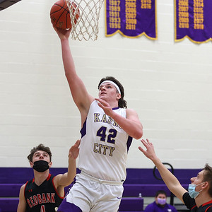 Karns City's Nathan Waltman extends for a layup against Redbank Valley in Tuesday's 73-45 home win. Seb Foltz/Butler Eagle 02/09/21