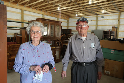 Butler County Veterans in Need founders Mary, 87, and Damian Hambley, 89, stand for a photo in the foundation's new storage warehouse on Route 8 north of Butler. The organization provides furniture for veterans in need. Seb Foltz/Butler Eagle