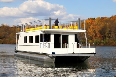 The Moraine Preservation Fund's new pontoon boat hit the waters of Lake Arthur for the first time Thursday. The boat will begin public tours of the lake next spring. Seb Foltz/Butler Eagle 10/23/20