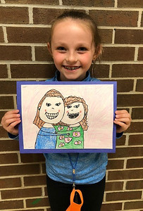 """""""Nora Wildrick, a student at Haine Elementary School, drew a portrait of her and her mom, Erin, for Mother's Day.""""Submitted photo."""