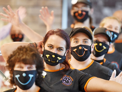Employees of Eat'n Park at the restaurant's new location on New Castle Road are masked up and ready to serve when the store opens for the first time Wednesday, May 5. Harold Aughton/Butler Eagle.
