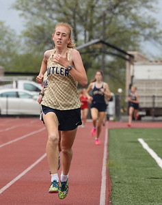 Butler's Jen Cichra runs to a second place finish in the 800 meter in Tuesday's WPIAL semifinal at Butler. Seb Foltz/Butler Eagle 05/04/21