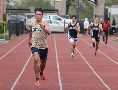 Butler's Guinness Brown runs to a first place finish in the 400 meter in Tuesday's WPIAL semifinals at Butler. Seb Foltz/Butler Eagle 05/04/21