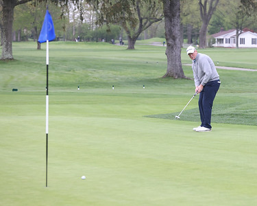 Rob McClellan watches his putt on hole 18 at Butler Country Club during Wednesday's U.S. Open WPGA local qualifier. Seb Foltz/Butler Eagle 05/05/21