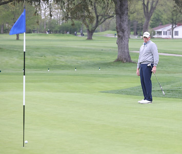 Rob McClellan watches a long putt fall just short of the hole on 18 at Butler Country Club during Wednesday's U.S. Open WPGA local qualifier. Seb Foltz/Butler Eagle 05/05/21
