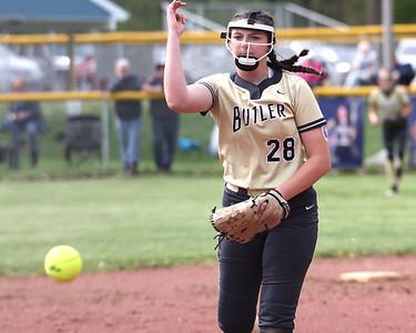 Butler's Kelsey Ogin pitches against Knoch Thursday. Seb Foltz/Butler Eagle 05/06/21