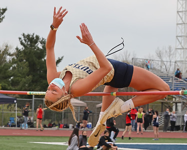 Butler's Alexia Mechling clears the high jump bar on her way to a second place finish in Saturday's Butler Invitational. Seb Foltz/Butler Eagle 04/24/21