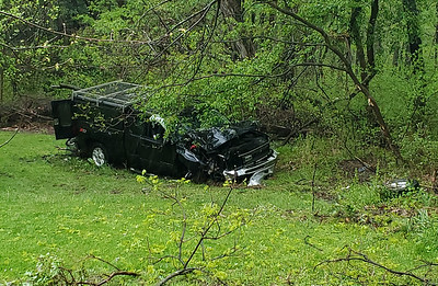 State police and fire crews responded to a one vehicle crash around noon Sunday on the 1100 block of Winfield Road in Winfield Township. Nathan Bottiger/Butler Eagle