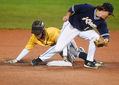 Mars Trey Wagner steals second base in the second inning against Knoch. Harold Aughton/Butler Eagle