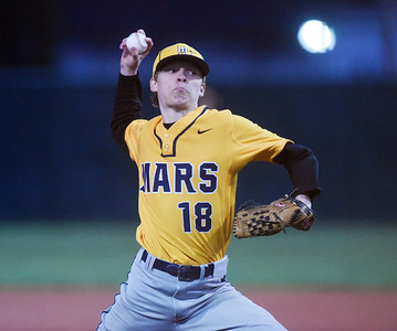 Mars pitcher #18 delivers a pitch in the first inning against Knoch. Harold Aughton/Butler Eagle