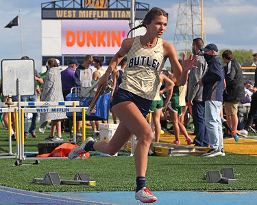 Butler's Gabby Boden competes in the 4x400 in WPIAL Championships in West Mifflin Wednesday. Butler boys and girls both won team championships in the event. Seb Foltz/Butler Eagle 05/12/21
