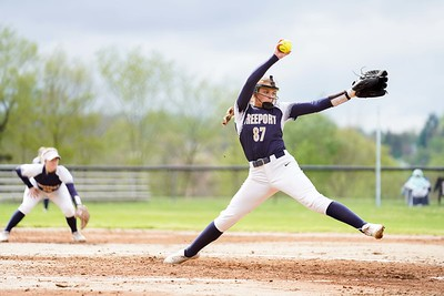 Freeport freshman Sydney Selker delivers a pitch during a Yellowjackets' softball game earlier this season. Selker was named after Pittsburgh Penguins' star center Sidney Crosby and wears his familiar jersey No. 87, both on the softball field and on the volleyball court for Freeport.