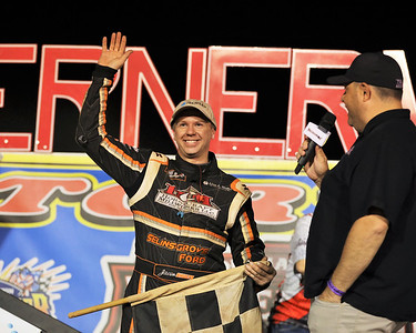 Jason Shultz waves to the crowd following his sprint car win Friday at Lernerville. The race was the track's 1,000th sprint race. Seb Foltz/Butler Eagle 05/14/21