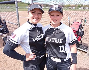 Moniteau softball players Courtney Stewart (left) and Abby Rottman