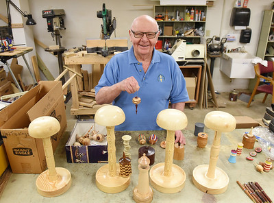 Since moving into the Concordia Haven apartments, Jack Brown has taken full advantage of the woodshop making Christmas ornaments for his neighbors to wig stands for cancer patients at the Butler Memorial Hospital. Harold Aughton/Butler Eagle