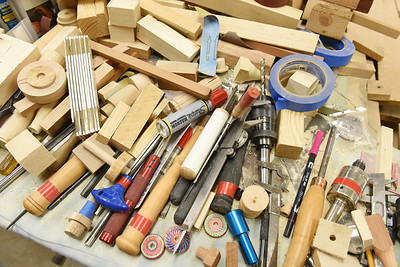 The tools of the trade. Since moving into the Concordia Haven apartments, Jack Brown has taken full advantage of the woodshop and all the tools it has to offer. Harold Aughton/Butler Eagle.