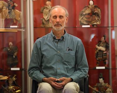 David Wuchina meditates during a Buddhist session at the Maridon Museum Thursday. Seb Foltz/Butler Eagle. 05/13/21