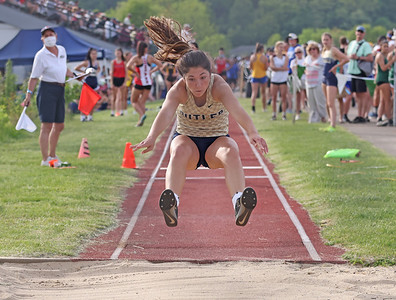 Butler's Megan Baggetta competes in the triple jump in Wednesday's WPIAL individual championships at Slippery Rock University. Seb Foltz/Butler Eagle 05/19/21