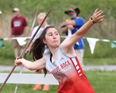 Slippery Rock's Maryann Ackerman throws javelin at district championships Saturday at Slippery Rock University. Seb Foltz/Butler Eagle 05/22/21