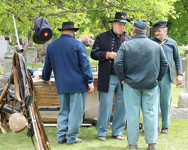 Civil War reenactors chat during the Butler County  Historical Society Echoes From Our Past series Saturday at North Side Cemetery. Actors portrayed figures from Butler's past  and recreated scenes their respective eras. Seb Foltz/Butler Eagle 05/22/21