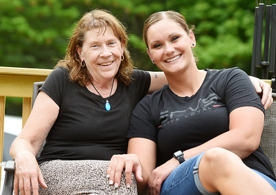 Terry Becker, left, and Brittney Gunther met for the first time at a celebration of life party for Terry's son, Corey Becker, who died early this year of COVID-19. Gunther, an EMT, kept Terry informed of Corey's condition while in the hospital. Harold Aughton/Butler Eagle