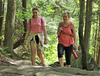 Madyson Cieszynski (left) and her mother Michele Cieszynski hike at McConnells Mill Tuesday. Seb Foltz/Butler Eagle 05/18/21