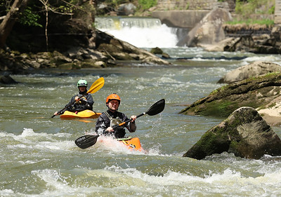 Joe and Katie Boyd kayak below McConnells Mill Tuesday on Slippery Rock Creek. The stretch of river along the Butler and Lawrence County Line offers upto class III whitewater at certain levels. Seb Foltz/Butler Eagle Seb Foltz/Butler Eagle 05/18/21
