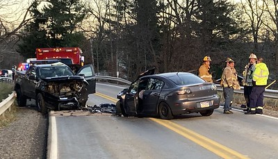 No one was seriously injured in a head-on crash involving a pickup truck and a car Wednes- day evening on Saxonburg Boulevard in Clinton Township. One person was flown to a hospital as a precaution. ERIC JANKIEWICZ/BUTLER EAGL