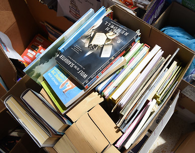 Butler Catholic collected over 1600 books during a book drive to place books inside the little free library outside the school. Harold Aughton/Butler Eagle.