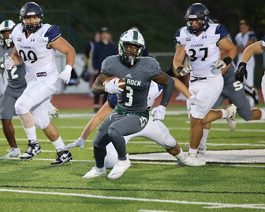 Slippery Rock's Cinque Sweeting breaks into open field on a punt return against Clarion Saturday. Seb Foltz/Butler Eagle 10/02/21