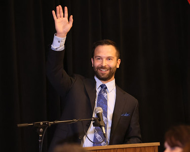 Butler County Chamber of 2021 William A. Morgan Jr. Entrepreneur of the year winner Kenny Bonus  of Bonus Accounting acknowledges and waves to his wife Rosie Bonust during his speech at Wednesday night's Celebrate Business dinner at the Slippery Rock Golf Club and Events Center. Seb Foltz/Butler Eagle 09/01/21