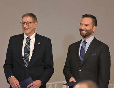 Butler County Chamber of Commerce 2020 and 2021 William A. Morgan Jr. Entrepreneur of the year winners Bill Kennihan (left, 2020) and Kenny Bonus (2021) recieve recognition at Wednesday night Celebrate Business dinner at the Slippery Rock Golf Club and Events Center. Seb Foltz/Butler Eagle 09/01/21