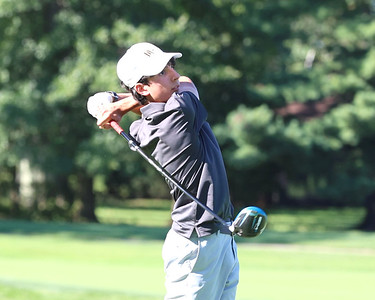 Mars junior Blake Bertolo watches his ball after his tee shot on hole no. 2 at Butler Country Club Thursday, during Mars' win over North Allegheny. Seb Foltz/Butler Eagle 09/02/21