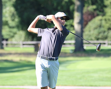 Mars junior Ryan Steigerwald watches his ball after his tee shot on hole no. 2 at Butler Country Club Thursday, during Mars' win over North Allegheny. Seb Foltz/Butler Eagle 09/02/21