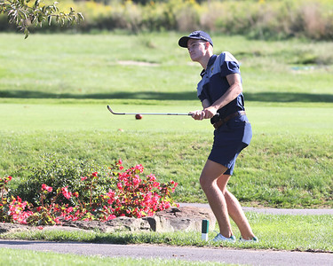 Butler senior Lucas Slear watches his shot from the rough on hole no. 6  at Butler Country Club Thursday against Shaler.  Seb Foltz/Butler Eagle 09/02/21