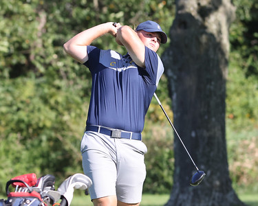 Butler senior Colin Patterson watches his tee shot on hole no. 7 at Butler Country Club Thursday against Shaler.  Seb Foltz/Butler Eagle 09/02/21