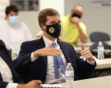 Rep. Conor Lamb poses a question about domestic steel usage in electrical infrastructure at Wednesdays information session on Cleveland Cliffs high grade steel manufacture. Seb Foltz/Butler Eagle 09/08/21
