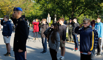 Seneca Valley JROTC cadets honor 9/11 victims with a ceremony in front of the school on Friday morning. Julia Maruca/Butler Eagle