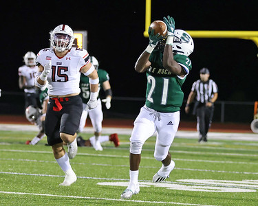 Slippery Rock running back Chris D'Or catches a pass and runs for an 81-yard touchdown reception agains East Stroudsburg Saturday. Seb Foltz/Butler Eagle 09/11/21