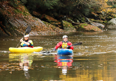 Jesse Macklin (left) and Robbie Venus paddle down Slippery Rock Creek in McConnells Mill State Park Wednesday. Seb Foltz/Butler Eagle 10/21/20